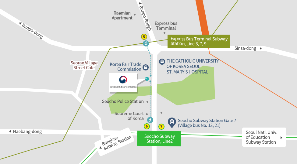 map for visiting the library